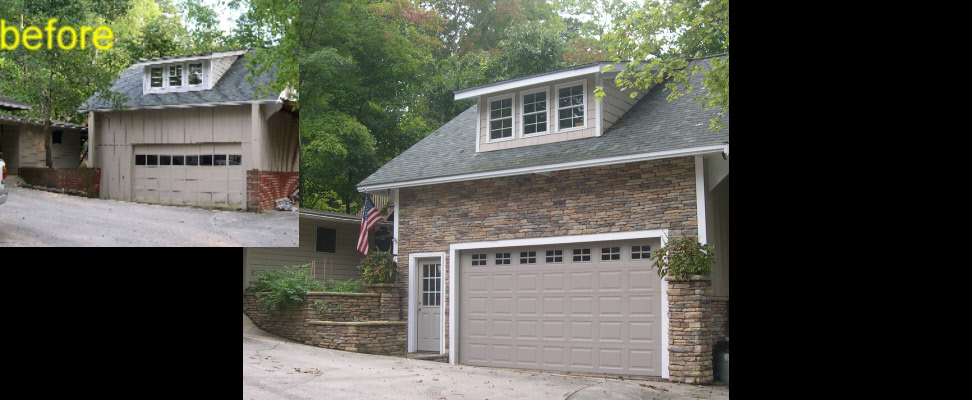 Stone veneer added to this stand-alone garage/shop enabled the homeowner to quickly sell this older home