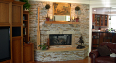 Natural Stone Fireplace, Hearth, and Mantle