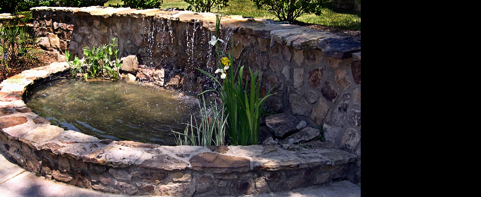 An existing courtyard wall was modified to include a waterfall