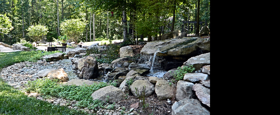 The headwaters of this 100' stream feature a two-ton waterfall stone